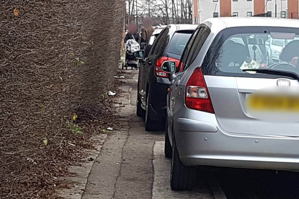 Cars parked on pavement