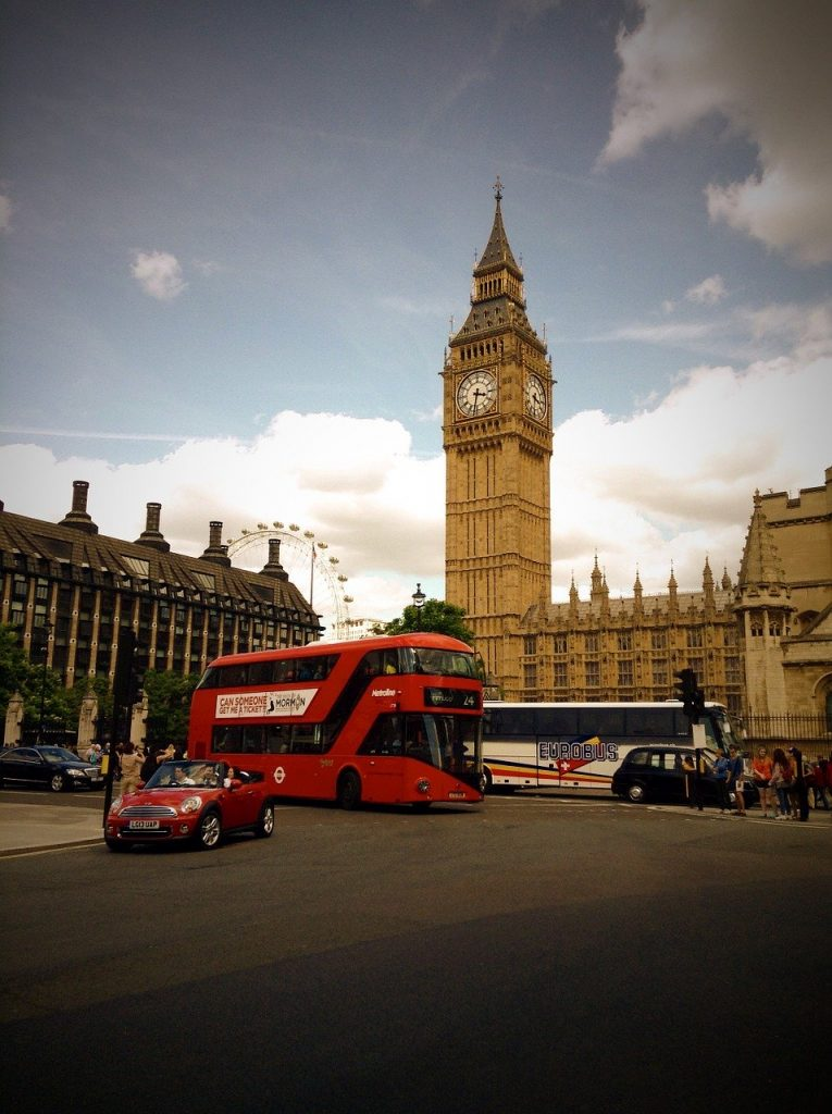 Bus and coach near Big Ben in London
