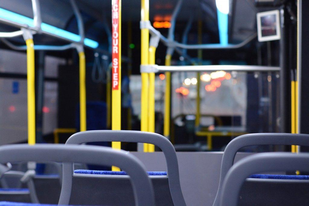 Seats inside a bus