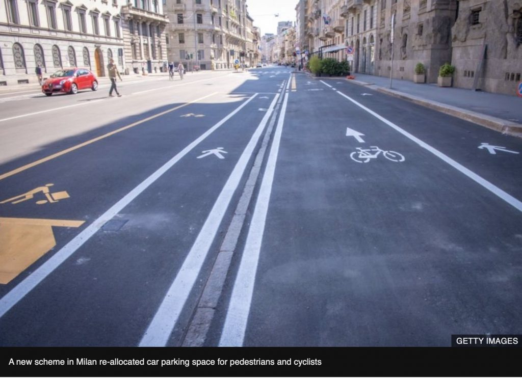 Image of street in Milan re-allocated car parking space for pedestrians and cyclists